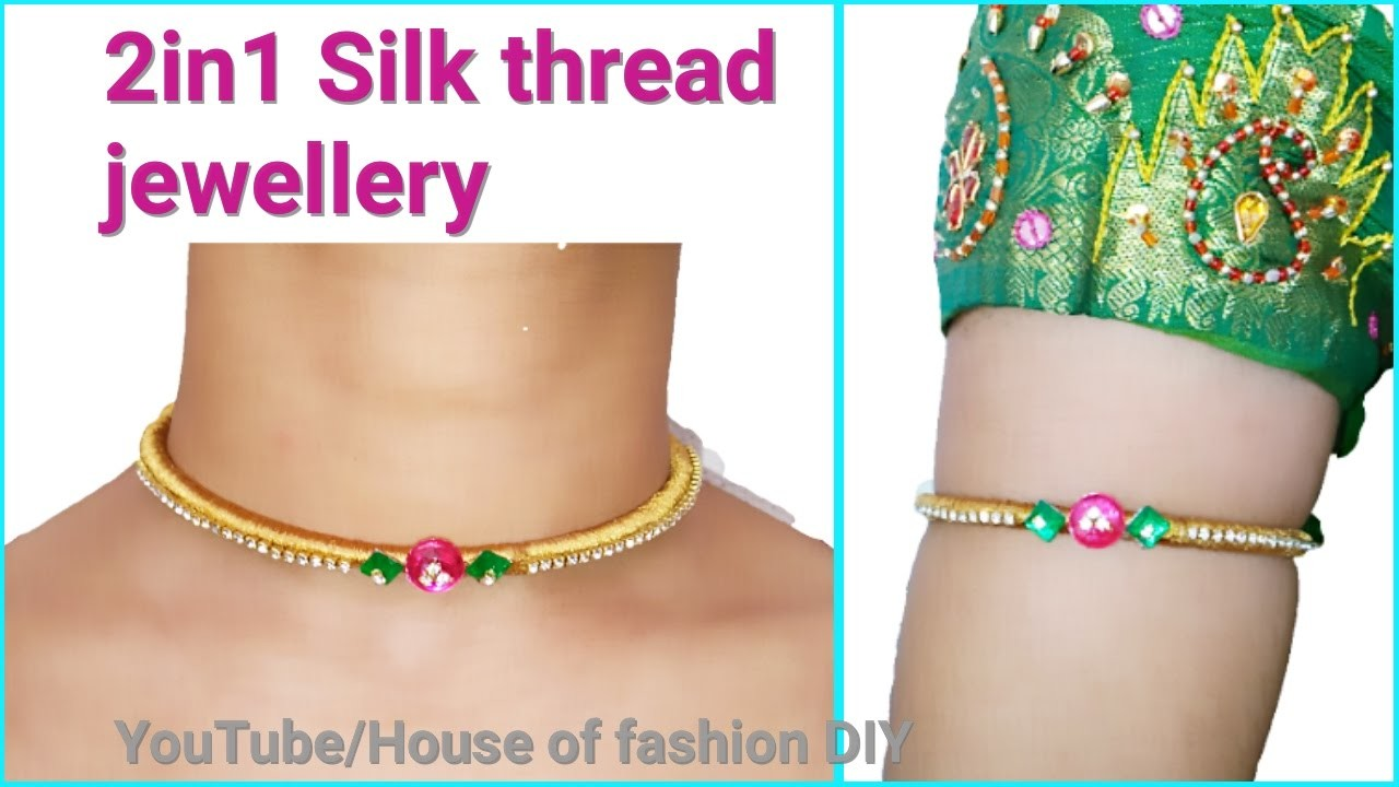 How To Make Armlet.Vanki Using Silk thread at Home||2 in 1 jewellery
