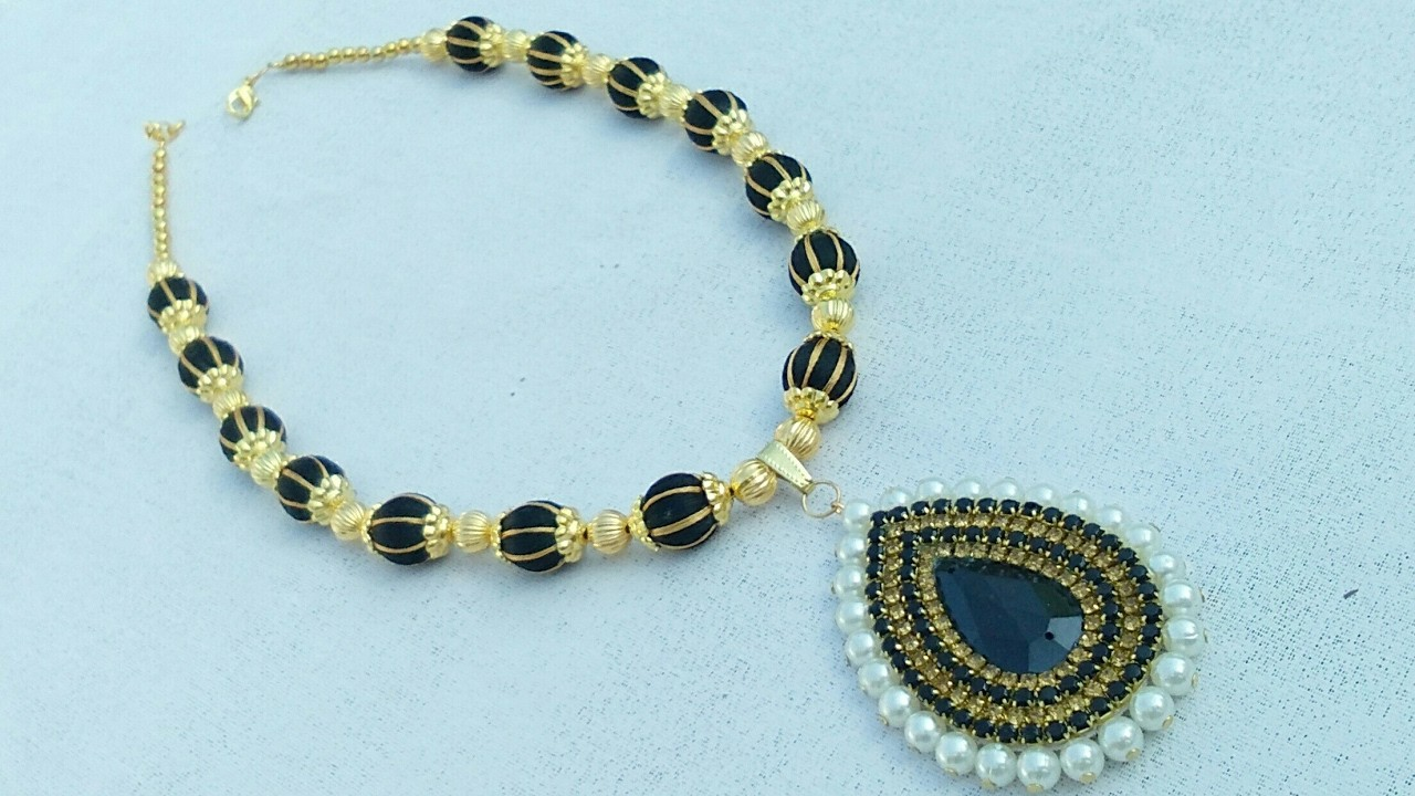 How To Make Designer Silk Thread Necklace.Jewelry Making. Party Wear. DIY. Home Made Tutorial