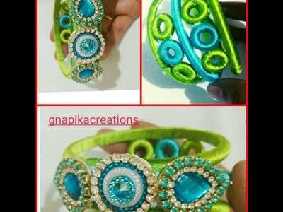 How to  make  silk thread donut bangles easy way in home
