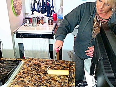 Last step applying  polyurethane to your countertops  'make countertops look like granite'