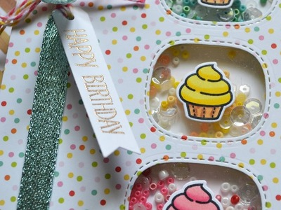 LAWN FAWN || Cupcakes Sprinkled with Joy || Shaker Card