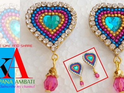 Making of earring studs. patches - heart shape earrings  | Valentines day special