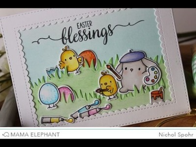 Mama Elephant Lil Painters Easter Pop Up Card