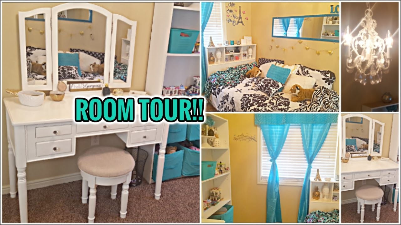 Room Tour 2017 Gold Black White Teal Tween Daughters