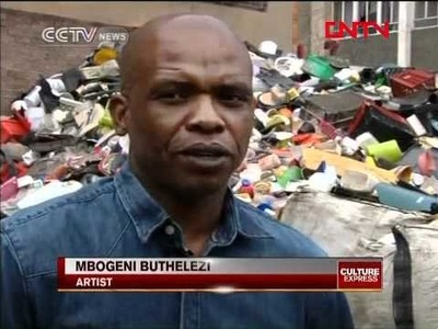 South African artist inspires by making art from plastic waste