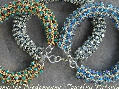 Tubular netted crystal bracelet tutorial