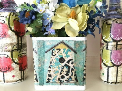 Upcycled Glass Vase Using Dollar Tree Napkins   Thrift Store   Mod Podge