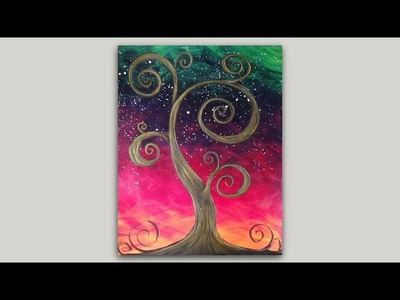 Whimsical Old Tree Acrylic Painting