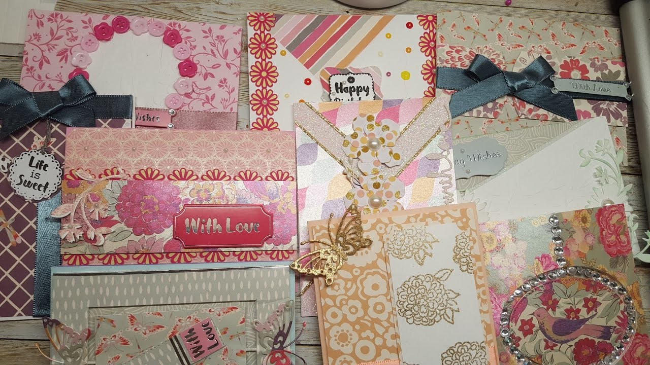 10 cards 1 kit. Crafty Ola's Card Kit of the Month May'17 '' Painted Blooms''