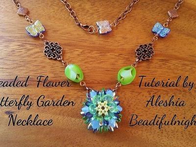 Beaded Flower Butterfly Garden Necklace Tutorial