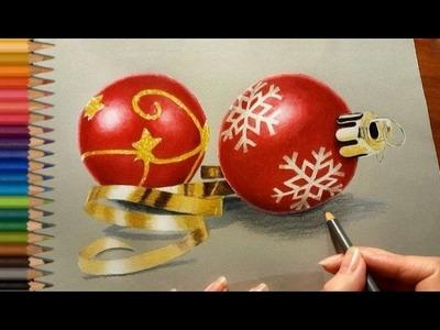 Colored Pencil Drawing: Christmas Tree Decorations   Jasmina Susak