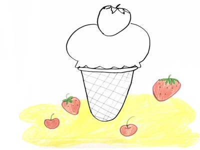 Coloring Book Ice cream, How to draw Ice cream and Strawberry, Art colors for  kids, Learn colors