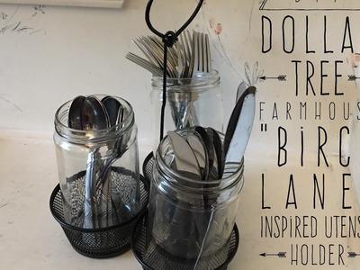 """DIY Dollar Tree Farmhouse """"Birch Lane"""" Inspired Utensil Holder  2017"""