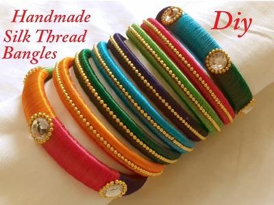 DIY || making of easy and simple silk thread thin bangles at home || DIY silk thread bangle tutorial