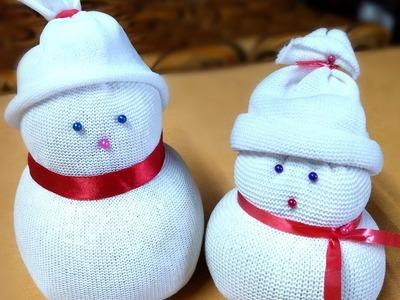 Diy snowman. socks snowman. how to make doll. socks crafts. Ganesh festival decoration crafts