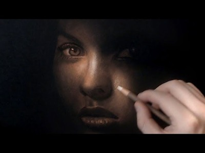 Drawing Girl on black paper - Dark Intentions - Art Video