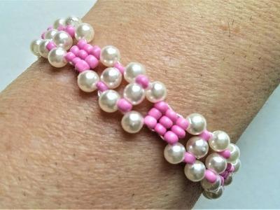Easy beaded pink bracelet for girls. beading tutorial for beginners