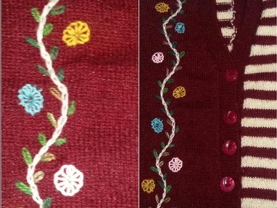 Embroidery cardigan design in hindi