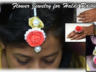 Flower Jewelry for haldi rasam | Set of 5 | Jewllery | Art with Creativity 213