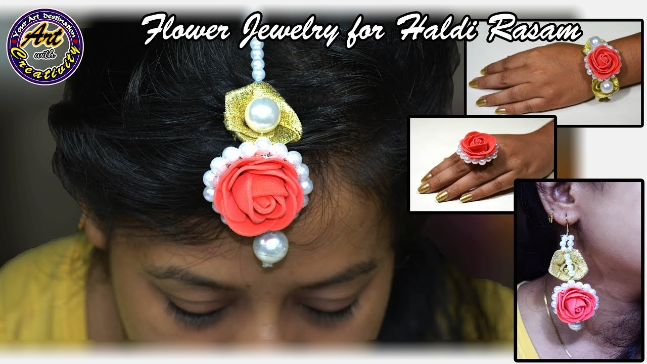 Flower Jewelry for haldi rasam   Set of 5   Jewllery   Art with Creativity 213