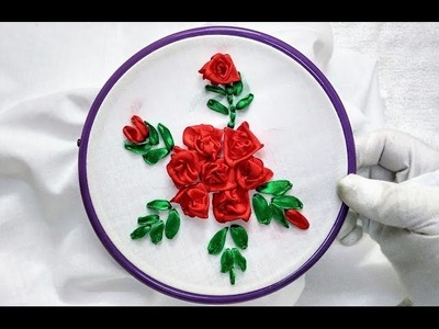 Hand Embroidery - Mini 3D Roses with Ribbon Stitch