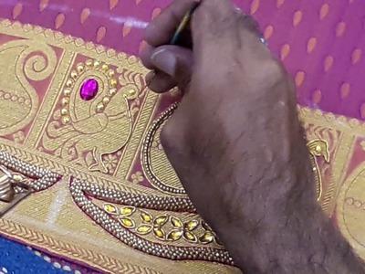 Highlighting Kanchi pattu border with jardosi and stones - Hand embroidery making