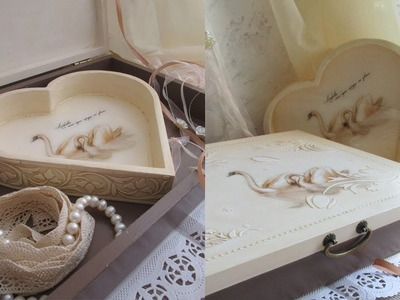 How to decoupage box with rice paper and epoxy resin. Wedding memory box.