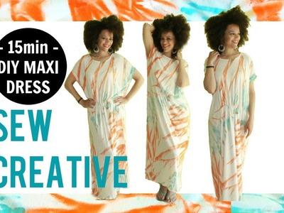 How-To | DIY MAXI DRESS IN 15MIN ????????  #SEWUNITED 4 Haiti ????????  Tie Dye Fabric