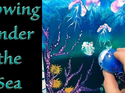 How to do Dirty Cup Fluid Acrylic Background & Coral Reef with Balloon painted Jellyfish Experiment