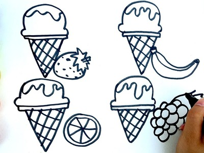 How to Draw Ice cream Coloring Pages | Kids Songs Learn Drawing | Art Colours for Children
