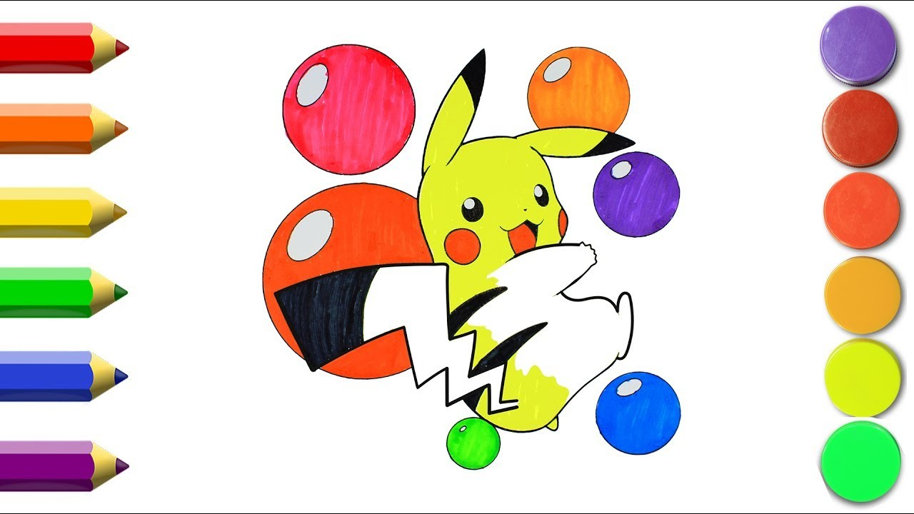 How to draw Pokemon Pikachu Coloring Pages | Kids Song Drawing | Coloring Pokemon for Kids