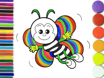 How to Draw Rainbow Bee Coloring Pages| Learn Drawing For Kids| Art Colours Yellow Bee For Kids