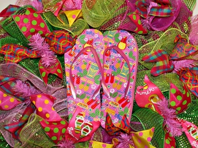 How to make a colorful deco mesh flip flop wreath poof and ruffle