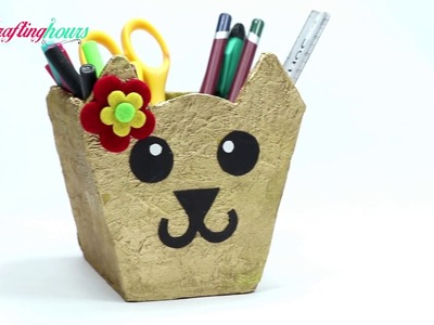 How to Make a Pen.Pencil Stand for Kids Study Table with Waste Cardboard | CraftingHours