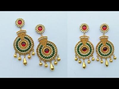 How To Make Designer Earrings. How To Make Paper Earrings. Paper Jewellery Making.DIY