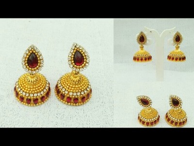 How To Make Designer Silk Thread Earrings. How To Make Bridal Jhumkhas. Jewellery Making. DIY