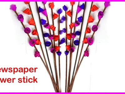 How to make Newspaper flower stick