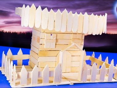How to Make Popsicle Stick House | popsicle stick crafts | Artkala 214