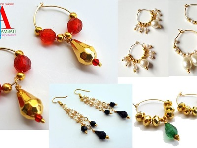How to make ring model earrings with loreals and pearls DIY