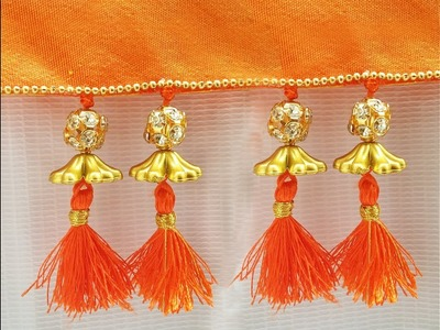 How to make saree kuchu easily at home l DIY silk thread saree tassels, kuchchu ,kuchu design # 28