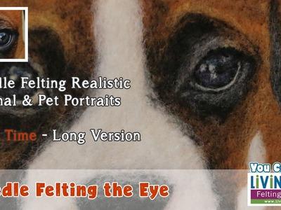 How to Needle Felt 2D Realistic Dog Animal & Pet Portrait PART 1: Needle Felting the Eye - Real Time