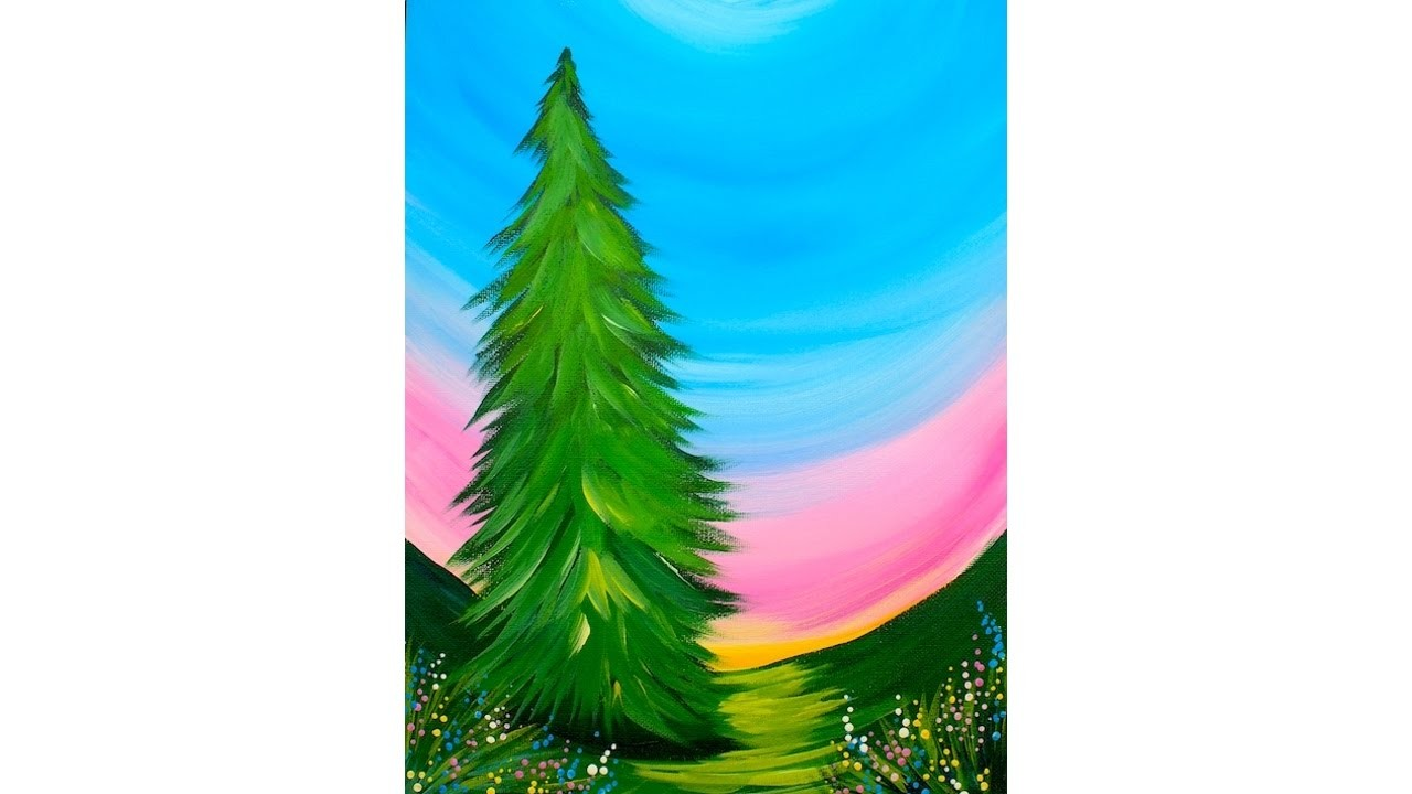 Incredibly easy beginner tree acrylic painting tutorial for Step by step acrylic painting tutorial