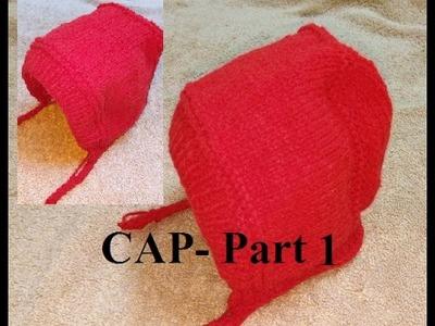 Knit Bonnet CAP for Kids हिंदी. बुनाई डिजाइन - 31 *Bonnet CAP- Part 1*