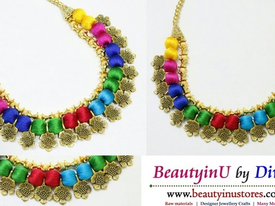 Making of Multicolor Silk Thread Necklace Using Antique Flowers and Gold Beads. Fancy Necklace