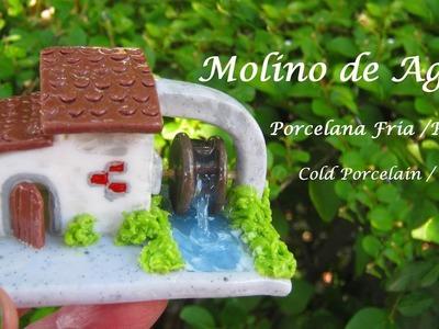 Molino de agua en Porcelana Fria. Resina - Cold Porcelain. Resin