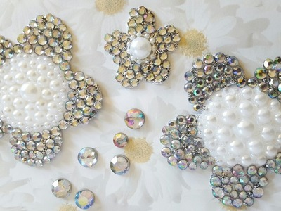 Pearl & Rhinestone Flower Embellishments