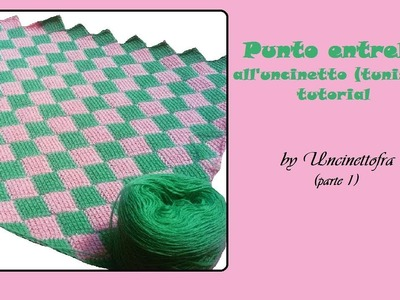 Punto Entrelac all'uncinetto (tunisino) tutorial  parte1