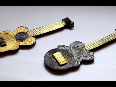 Quilled Miniature Guitar. Quilled Guitar. Quilled Instrument