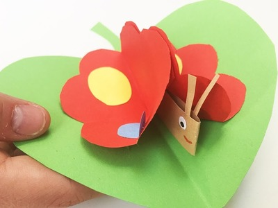 Summer DIY for kids | Paper Butterfly on a leaf | Easy to make for everyone