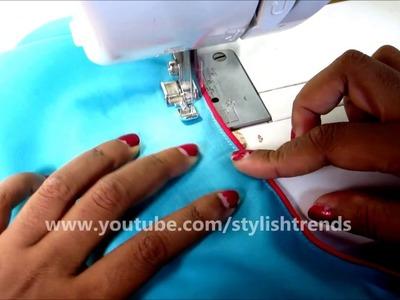 Thread   Cording Piping Back Neck Blouse   Kurti   Kameez Neckline  Chudidhar   DIY